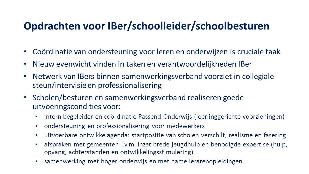 Opdrachten voor IBer/schoolleider/schoolbesturen Coördinatie van ondersteuning voor leren en onderwijzen is cruciale taak Nieuw evenwicht vinden in ta
