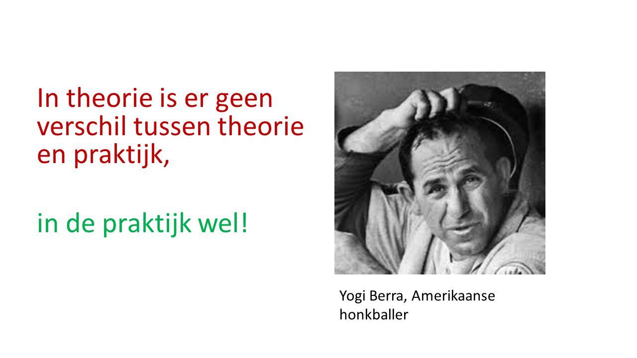 In theorie is er geen verschil tussen theorie en praktijk, in de praktijk wel! Yogi Berra, Amerikaanse honkballer