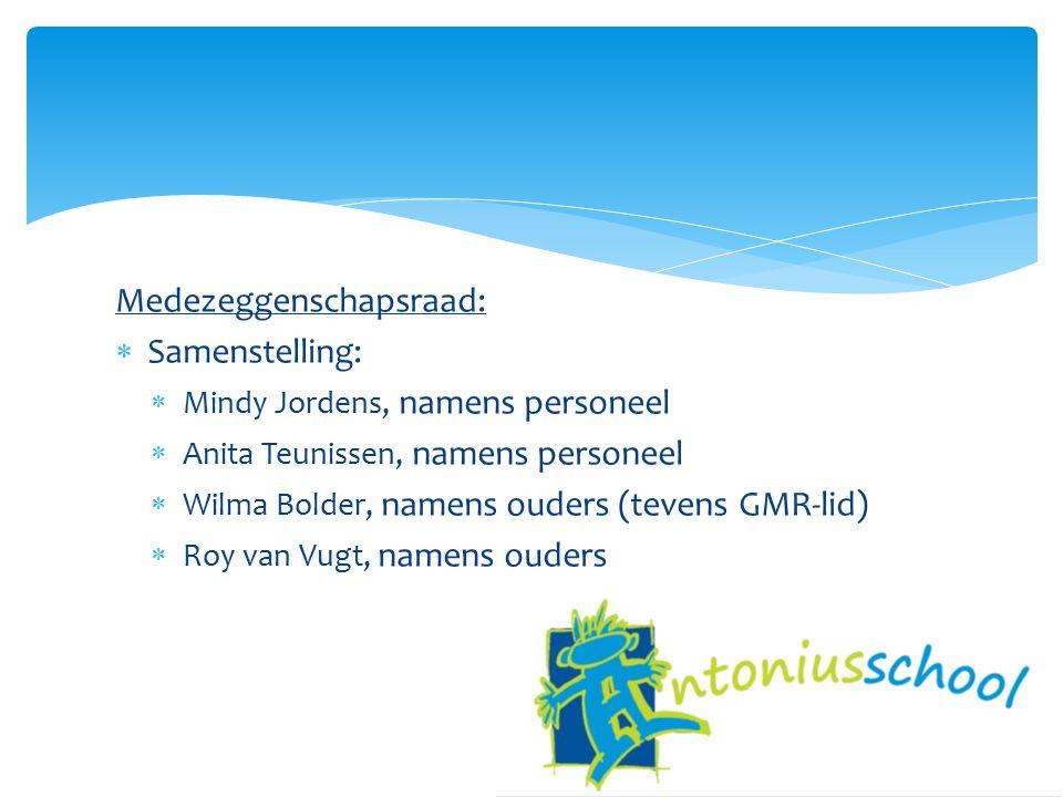 Medezeggenschapsraad:  Samenstelling:  Mindy Jordens, namens personeel  Anita Teunissen, namens personeel  Wilma Bolder, namens ouders (tevens GMR-lid)  Roy van Vugt, namens ouders