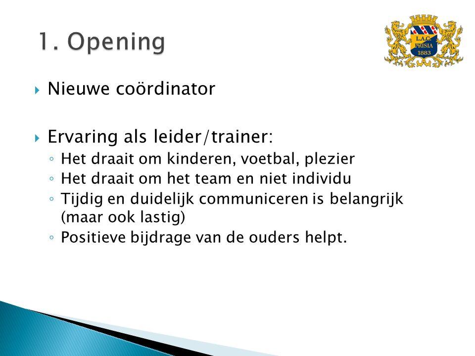  Nieuwe coördinator  Ervaring als leider/trainer: ◦ Het draait om kinderen, voetbal, plezier ◦ Het draait om het team en niet individu ◦ Tijdig en d