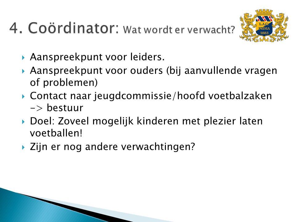 Aanspreekpunt voor leiders.  Aanspreekpunt voor ouders (bij aanvullende vragen of problemen)  Contact naar jeugdcommissie/hoofd voetbalzaken -> be