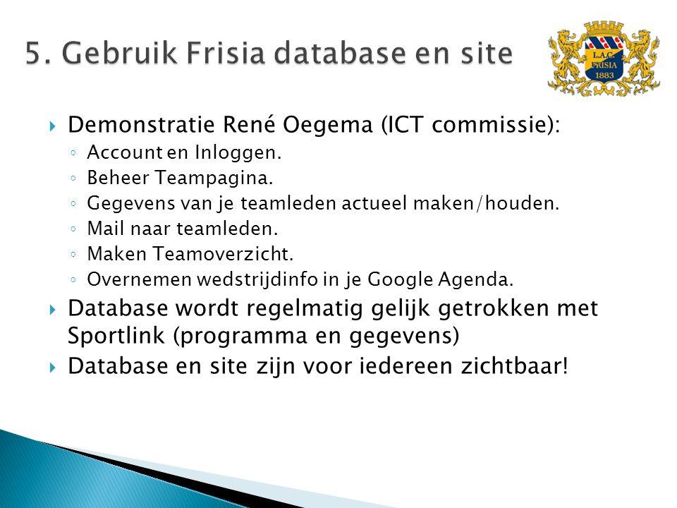  Demonstratie René Oegema (ICT commissie): ◦ Account en Inloggen. ◦ Beheer Teampagina. ◦ Gegevens van je teamleden actueel maken/houden. ◦ Mail naar