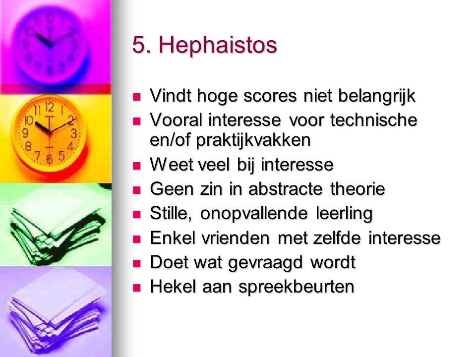 5. Hephaistos Vindt hoge scores niet belangrijk Vindt hoge scores niet belangrijk Vooral interesse voor technische en/of praktijkvakken Vooral interes