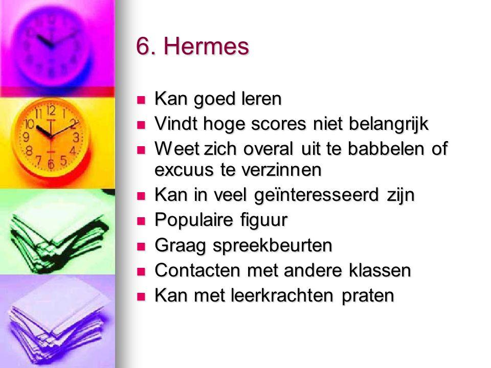 6. Hermes Kan goed leren Kan goed leren Vindt hoge scores niet belangrijk Vindt hoge scores niet belangrijk Weet zich overal uit te babbelen of excuus