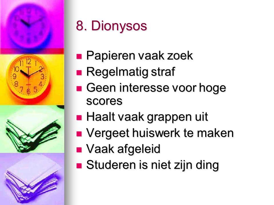 8. Dionysos Papieren vaak zoek Papieren vaak zoek Regelmatig straf Regelmatig straf Geen interesse voor hoge scores Geen interesse voor hoge scores Ha