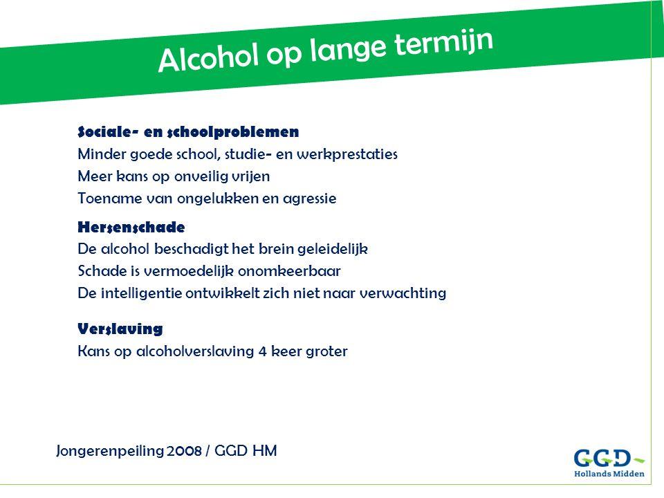 Alcohol op lange termijn Jongerenpeiling 2008 / GGD HM Sociale- en schoolproblemen Minder goede school, studie- en werkprestaties Meer kans op onveili