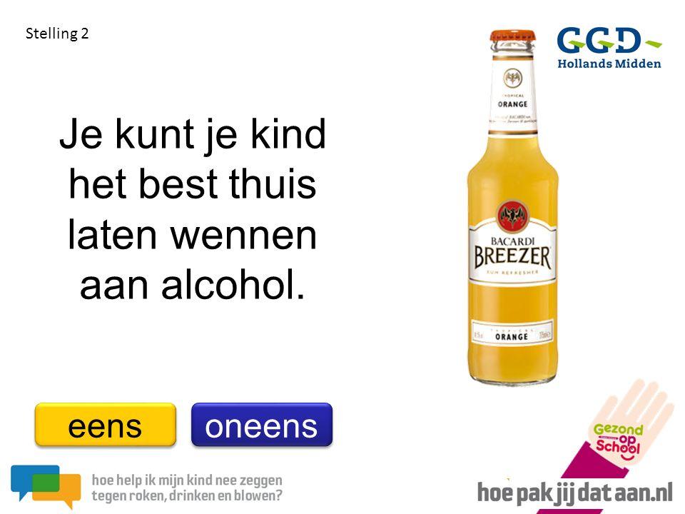 Je kunt je kind het best thuis laten wennen aan alcohol. Stelling 2 eens oneens
