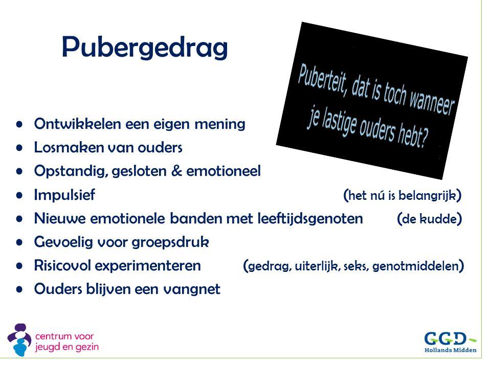 Pubergedrag Ontwikkelen een eigen mening Losmaken van ouders Opstandig, gesloten & emotioneel Impulsief ( het nú is belangrijk ) Nieuwe emotionele ban