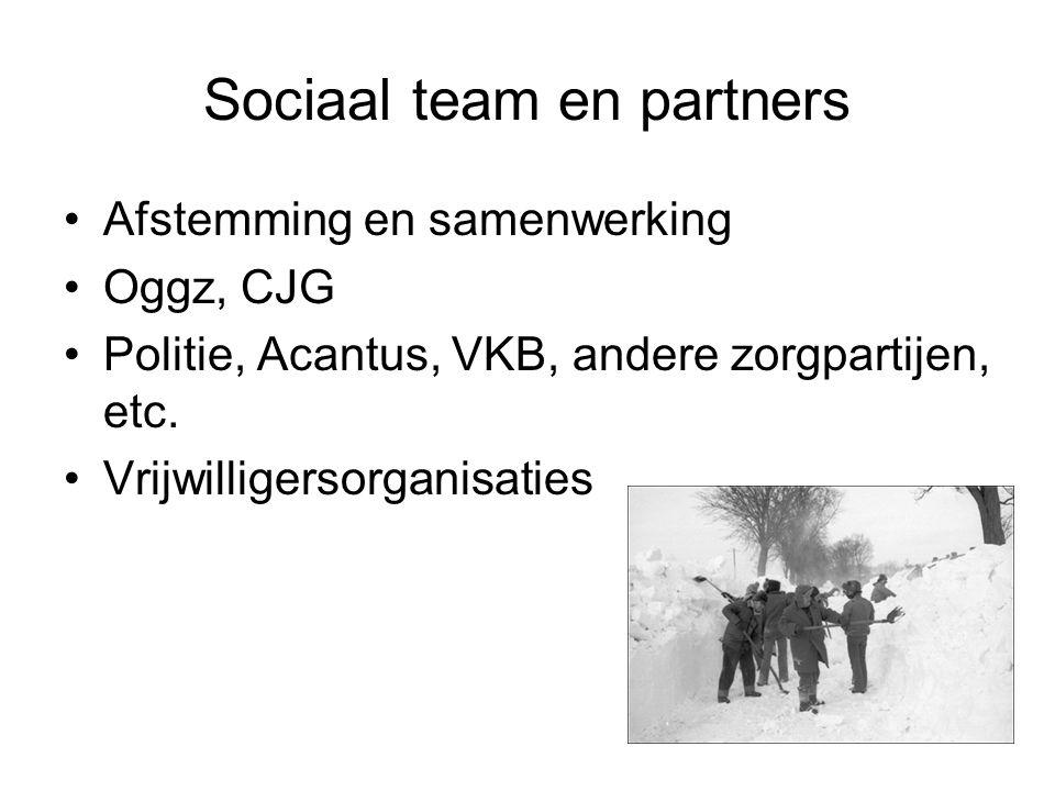 Sociaal team en partners Afstemming en samenwerking Oggz, CJG Politie, Acantus, VKB, andere zorgpartijen, etc.