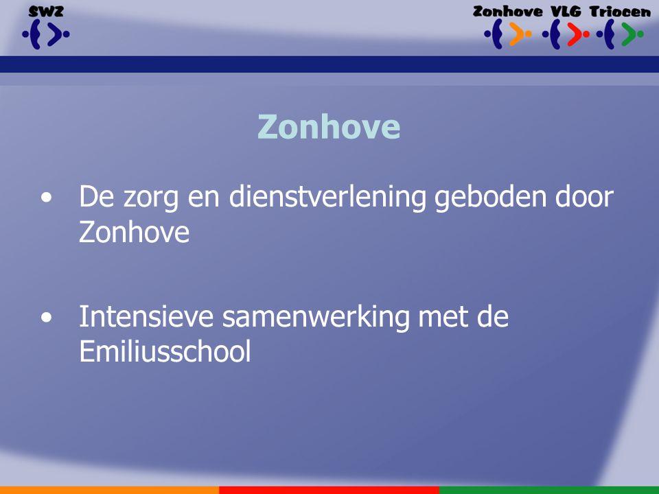 Zonhove De zorg en dienstverlening geboden door Zonhove Intensieve samenwerking met de Emiliusschool