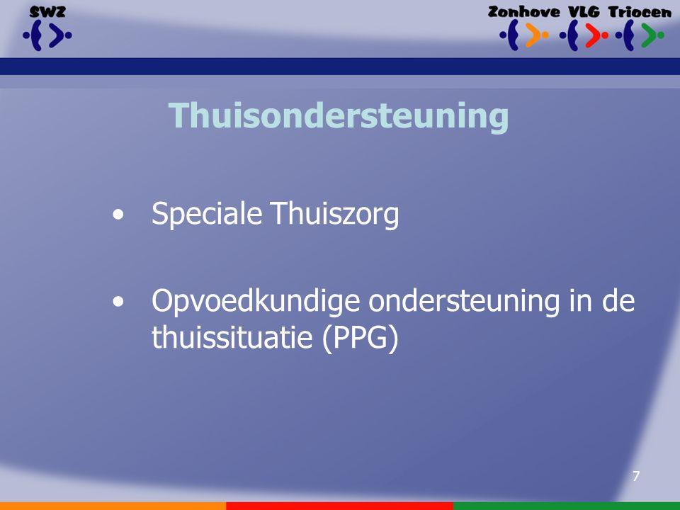 7 Thuisondersteuning Speciale Thuiszorg Opvoedkundige ondersteuning in de thuissituatie (PPG)