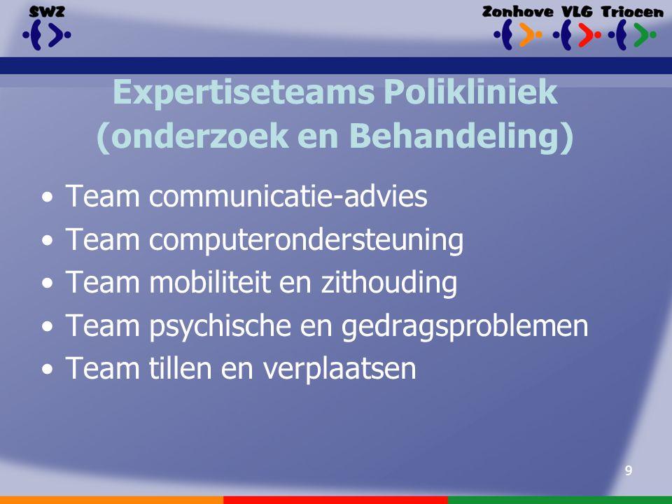 9 Expertiseteams Polikliniek (onderzoek en Behandeling) Team communicatie-advies Team computerondersteuning Team mobiliteit en zithouding Team psychische en gedragsproblemen Team tillen en verplaatsen
