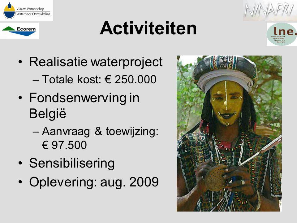 Activiteiten Realisatie waterproject –Totale kost: € 250.000 Fondsenwerving in België –Aanvraag & toewijzing: € 97.500 Sensibilisering Oplevering: aug