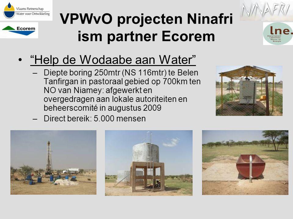 """VPWvO projecten Ninafri ism partner Ecorem """"Help de Wodaabe aan Water"""" –Diepte boring 250mtr (NS 116mtr) te Belen Tanfirgan in pastoraal gebied op 700"""