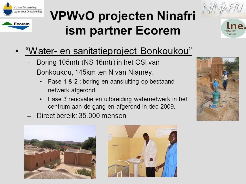 """""""Water- en sanitatieproject Bonkoukou"""" –Boring 105mtr (NS 16mtr) in het CSI van Bonkoukou, 145km ten N van Niamey. Fase 1 & 2 ; boring en aansluiting"""