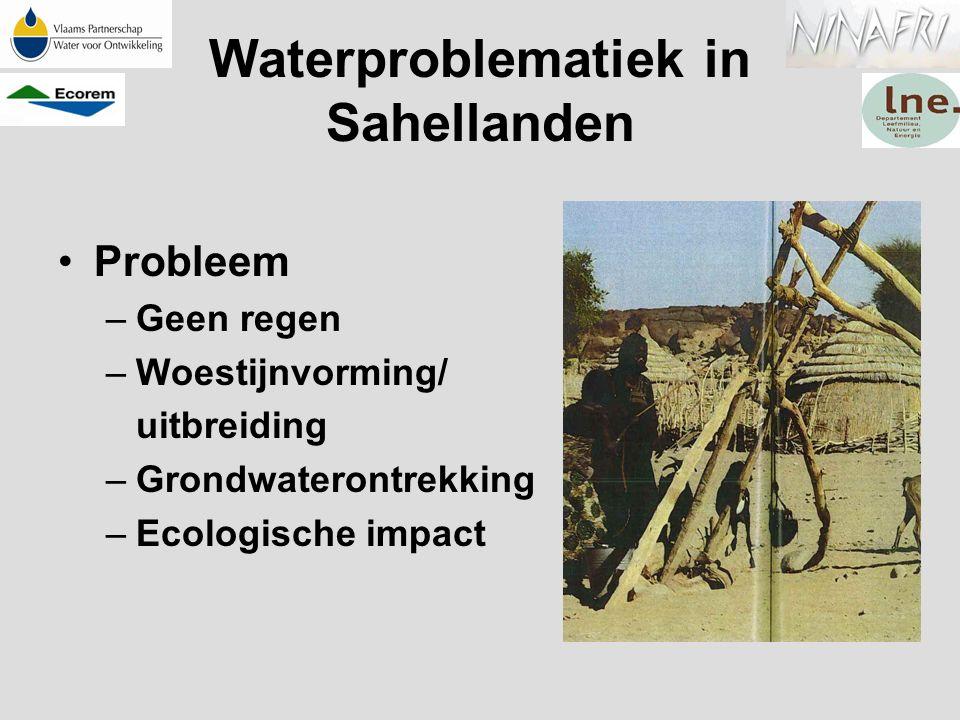 Waterproblematiek in Sahellanden Probleem –Geen regen –Woestijnvorming/ uitbreiding –Grondwaterontrekking –Ecologische impact