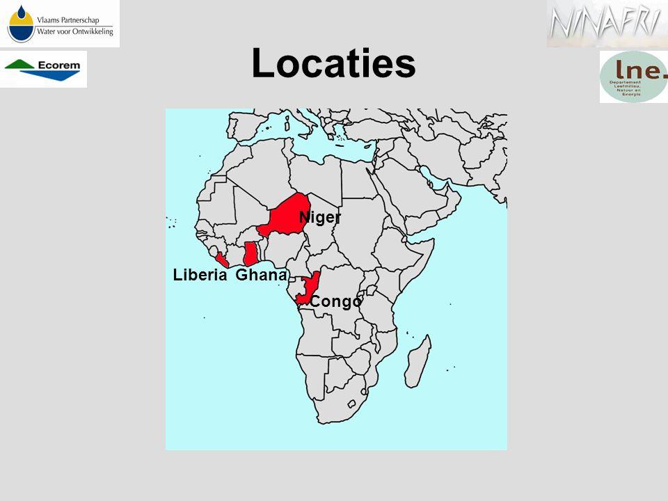 Locaties Niger Congo LiberiaGhana