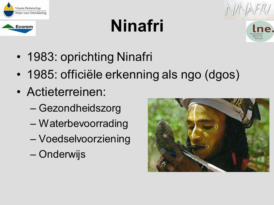 Ninafri 1983: oprichting Ninafri 1985: officiële erkenning als ngo (dgos) Actieterreinen: –Gezondheidszorg –Waterbevoorrading –Voedselvoorziening –Ond