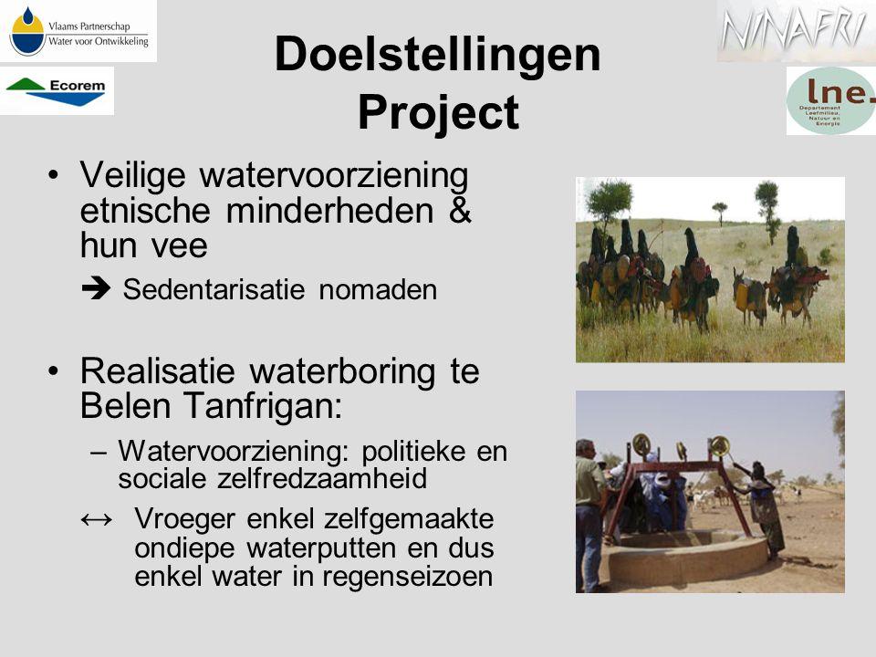 Doelstellingen Project Veilige watervoorziening etnische minderheden & hun vee  Sedentarisatie nomaden Realisatie waterboring te Belen Tanfrigan: –Wa