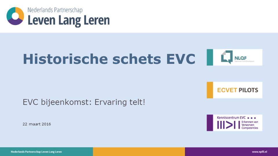 22 maart 2016 Historische schets EVC EVC bijeenkomst: Ervaring telt!