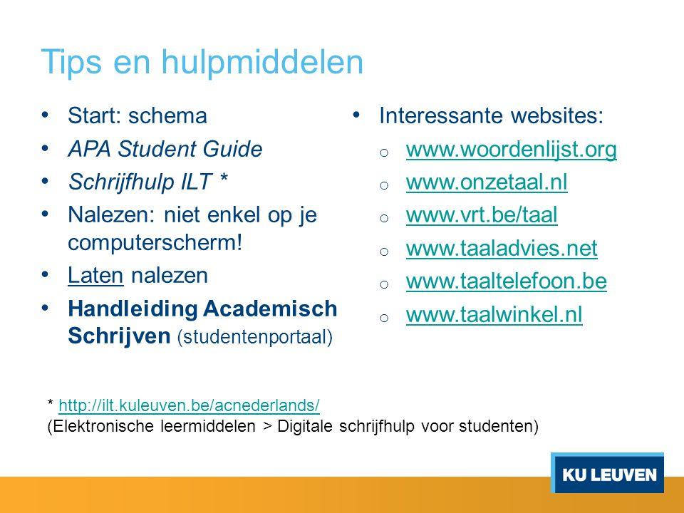 Tips en hulpmiddelen Start: schema APA Student Guide Schrijfhulp ILT * Nalezen: niet enkel op je computerscherm! Laten nalezen Handleiding Academisch