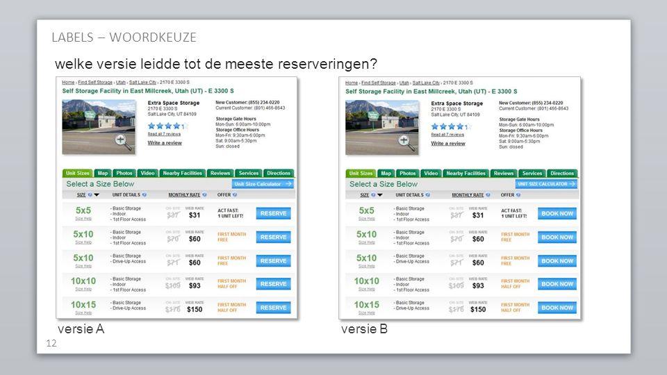 LABELS – WOORDKEUZE 12 versie Aversie B welke versie leidde tot de meeste reserveringen