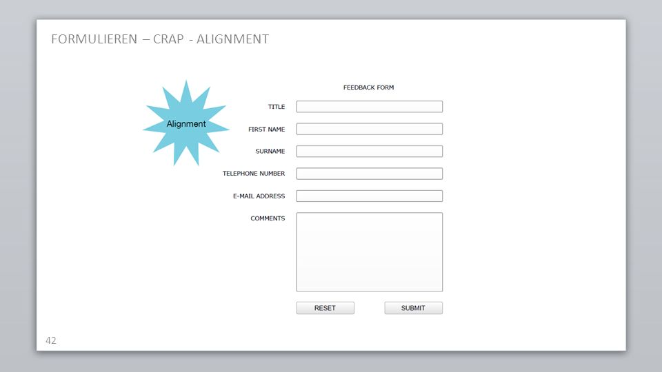 FORMULIEREN – CRAP - ALIGNMENT 42