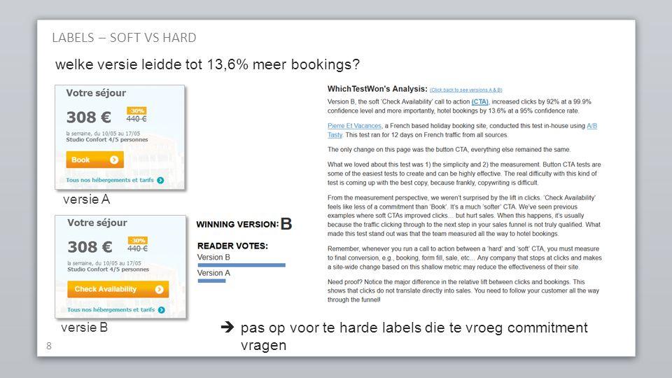 8 versie A versie B welke versie leidde tot 13,6% meer bookings.