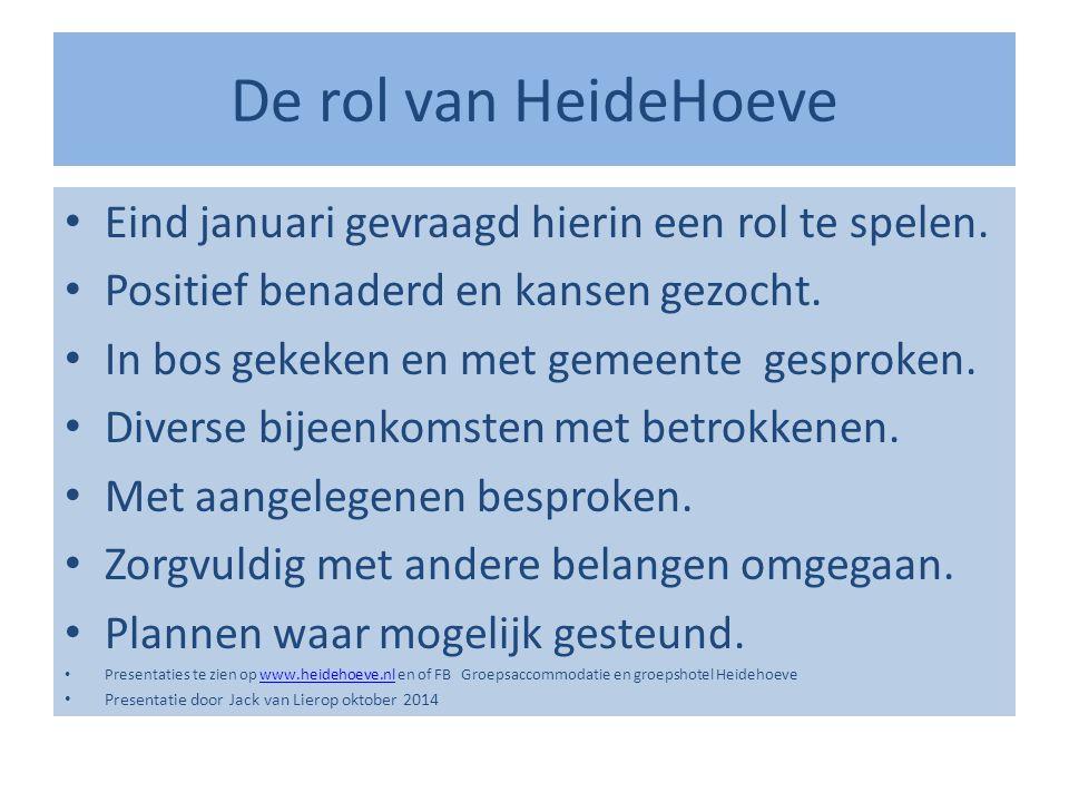 De rol van HeideHoeve Eind januari gevraagd hierin een rol te spelen.