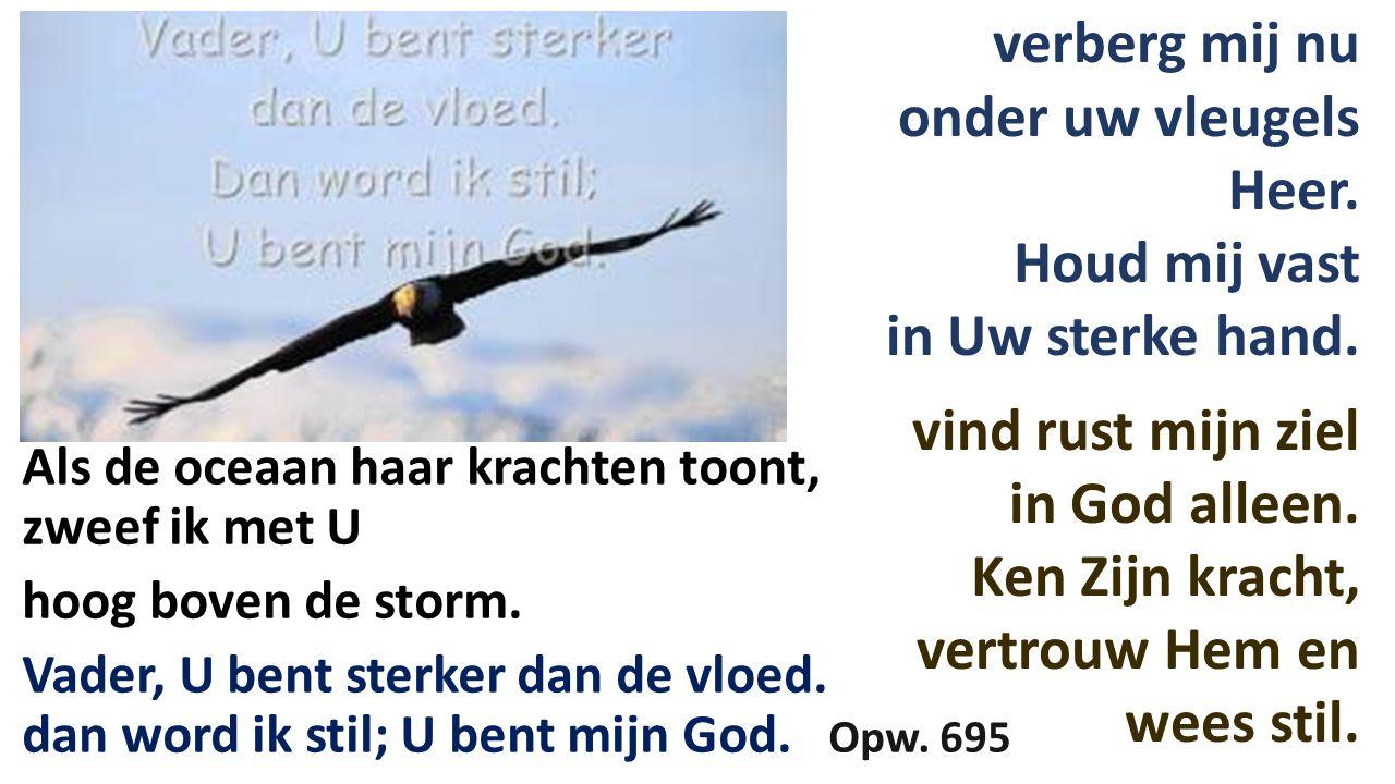 Als de oceaan haar krachten toont, zweef ik met U hoog boven de storm. Vader, U bent sterker dan de vloed. dan word ik stil; U bent mijn God. Opw. 695