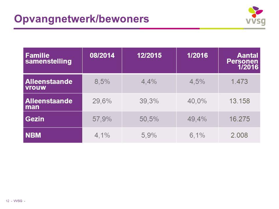 VVSG - Opvangnetwerk/bewoners 12 - Familie samenstelling 08/201412/20151/2016 Aantal Personen 1/2016 Alleenstaande vrouw 8,5%4,4%4,5%1.473 Alleenstaande man 29,6%39,3%40,0%13.158 Gezin57,9%50,5%49,4%16.275 NBM4,1%5,9%6,1%2.008