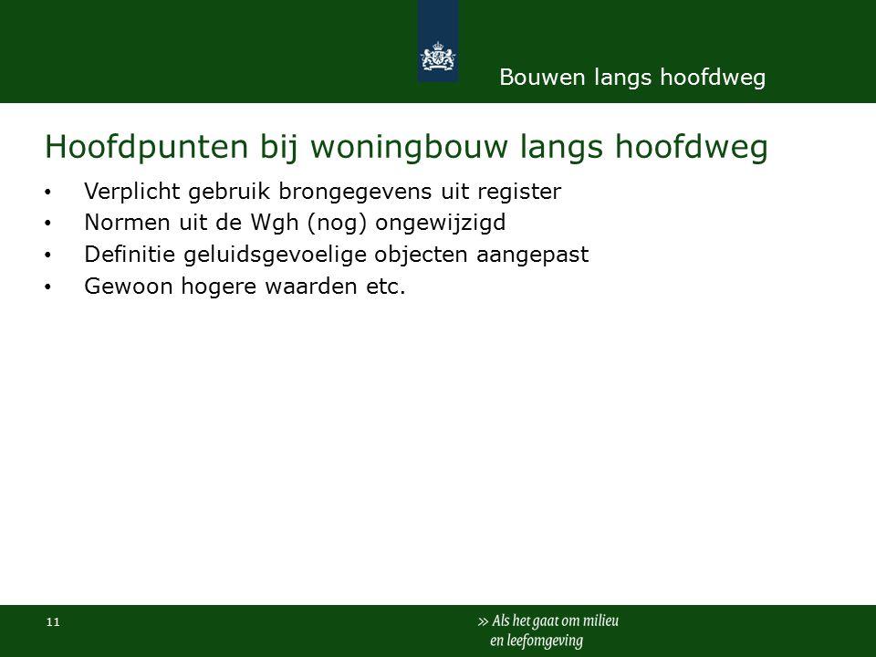 Hoofdpunten bij woningbouw langs hoofdweg Verplicht gebruik brongegevens uit register Normen uit de Wgh (nog) ongewijzigd Definitie geluidsgevoelige objecten aangepast Gewoon hogere waarden etc.