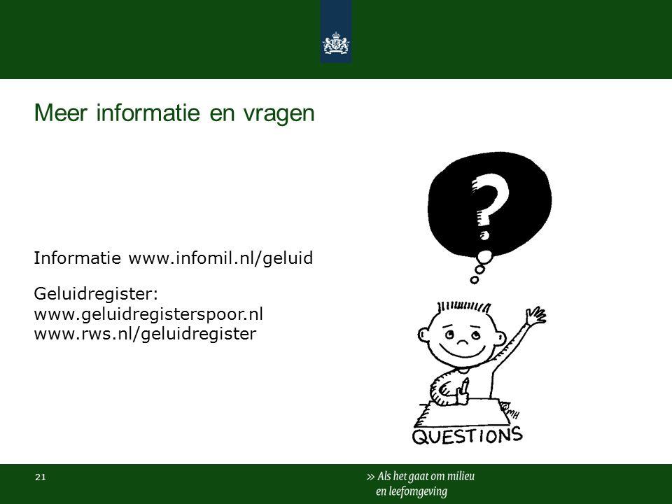 Meer informatie en vragen Informatie www.infomil.nl/geluid Geluidregister: www.geluidregisterspoor.nl www.rws.nl/geluidregister 21
