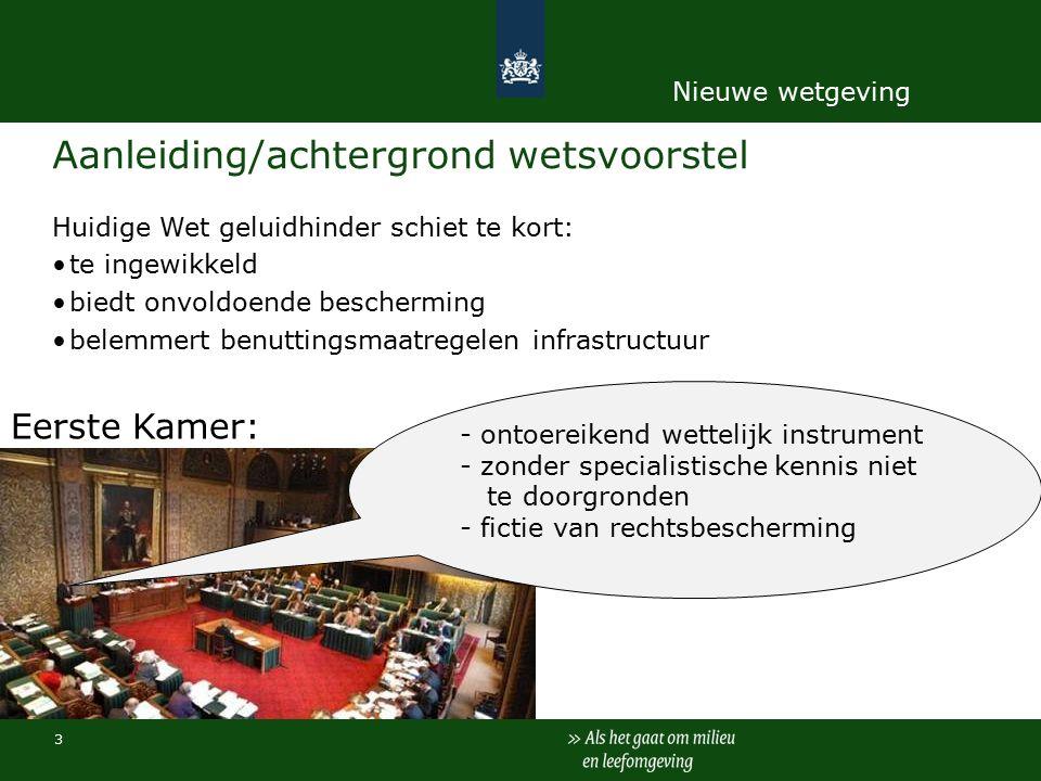 Aanleiding/achtergrond wetsvoorstel Huidige Wet geluidhinder schiet te kort: te ingewikkeld biedt onvoldoende bescherming belemmert benuttingsmaatregelen infrastructuur.