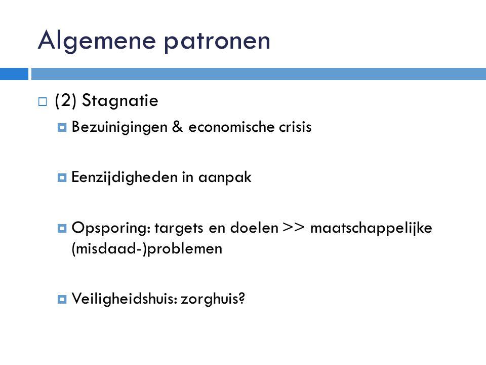 Algemene patronen  (2) Stagnatie  Bezuinigingen & economische crisis  Eenzijdigheden in aanpak  Opsporing: targets en doelen >> maatschappelijke (misdaad-)problemen  Veiligheidshuis: zorghuis