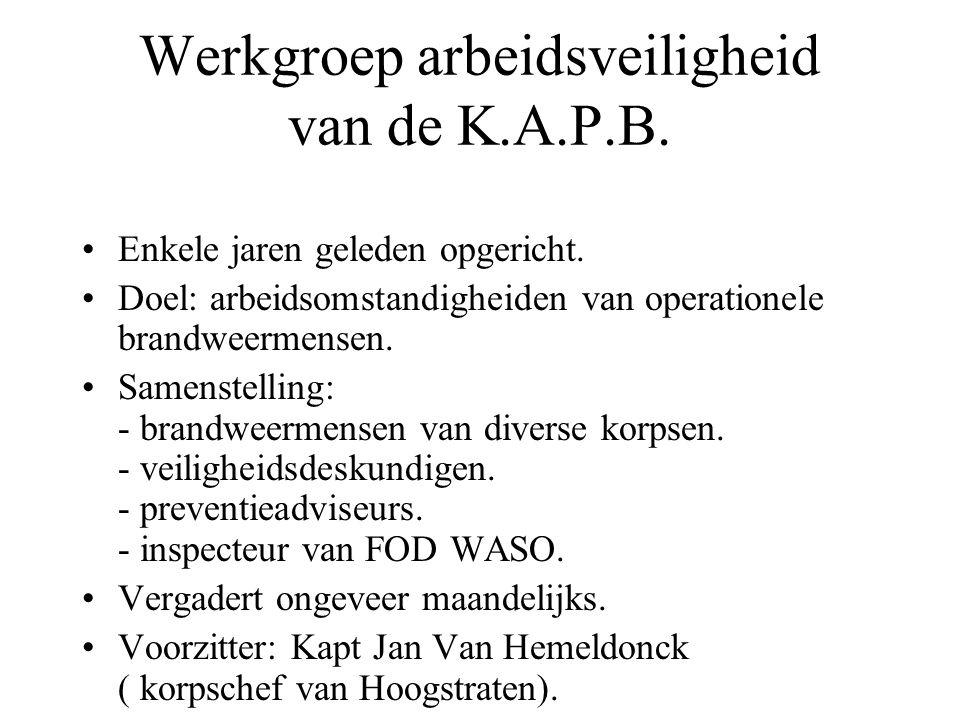 Werkgroep arbeidsveiligheid van de K.A.P.B. Enkele jaren geleden opgericht.
