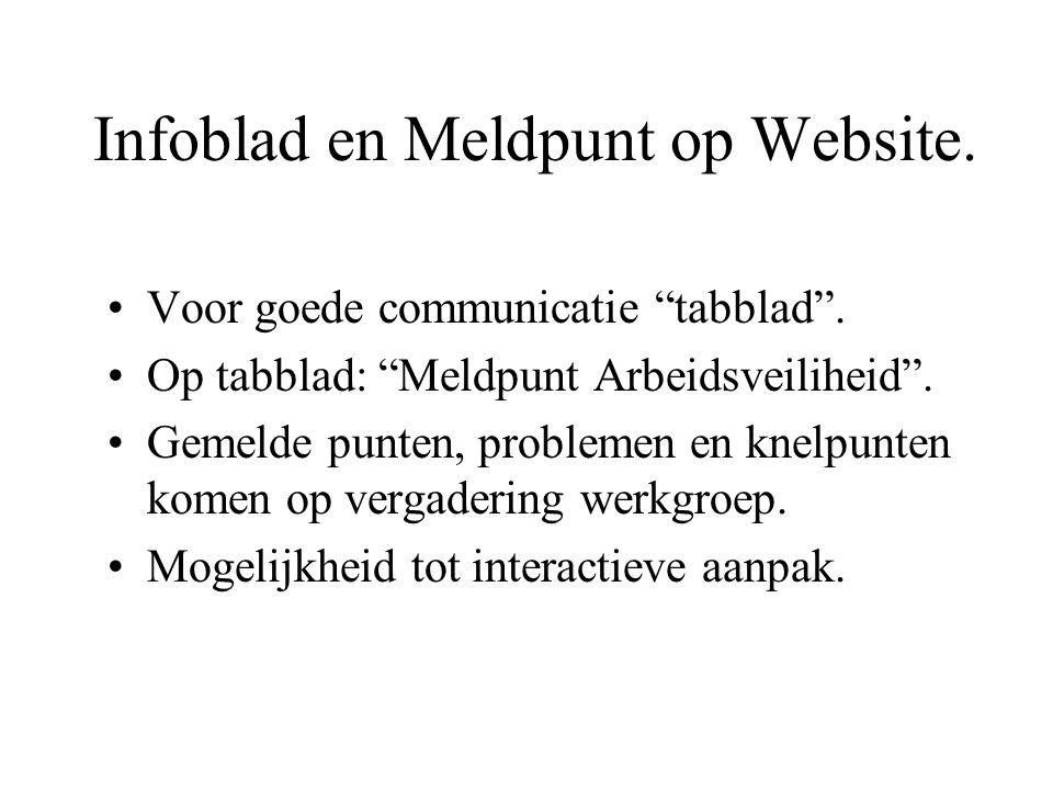 Infoblad en Meldpunt op Website. Voor goede communicatie tabblad .