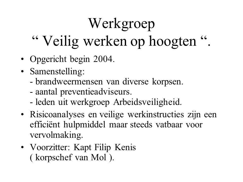 Werkgroep Veilig werken op hoogten . Opgericht begin 2004.