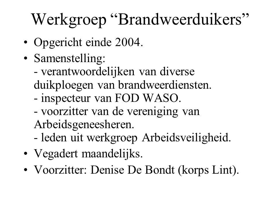 Werkgroep Brandweerduikers Opgericht einde 2004.