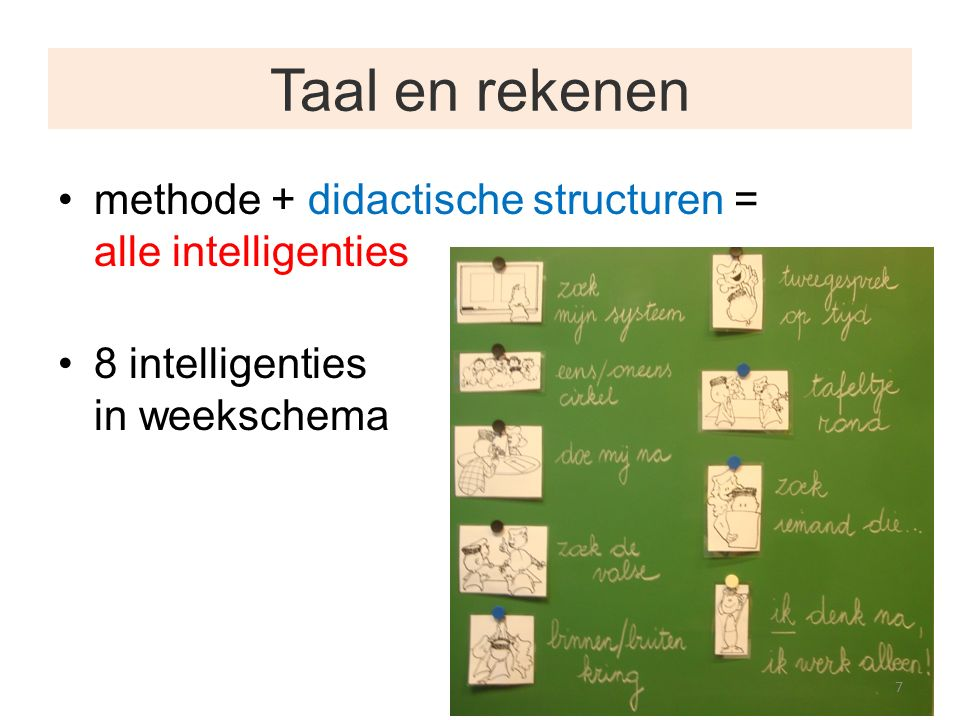 Taal en rekenen methode + didactische structuren = alle intelligenties 8 intelligenties in weekschema 7