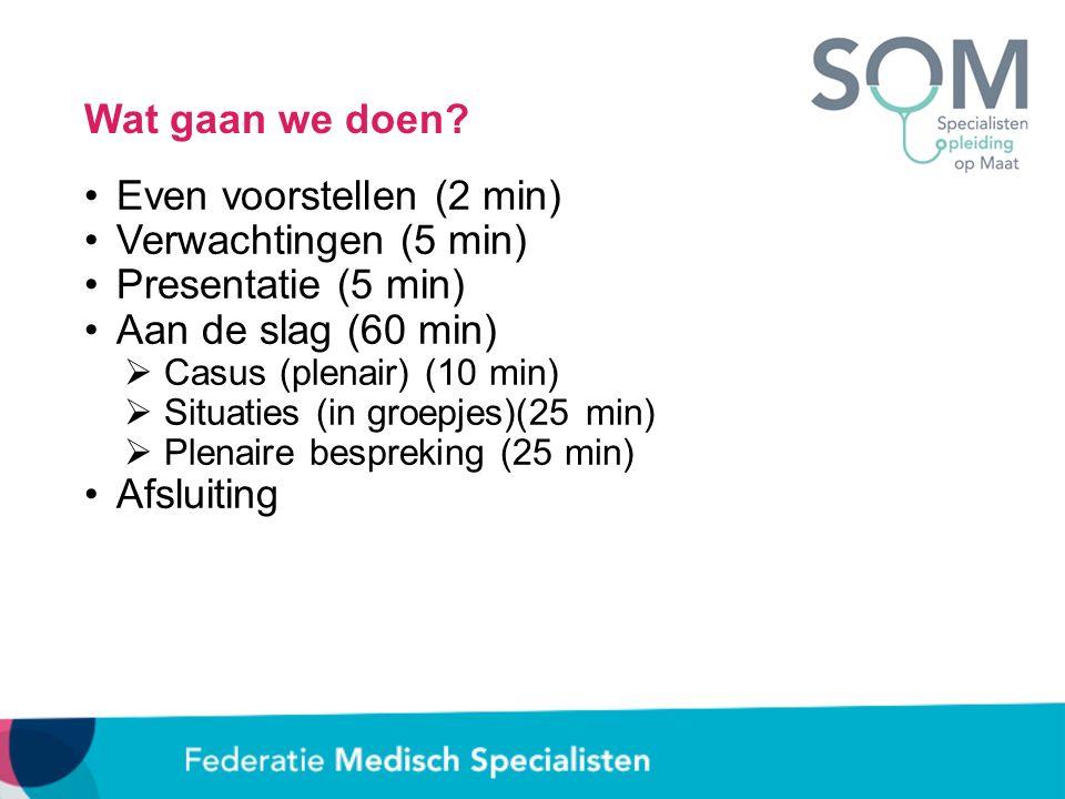 Wat gaan we doen? Even voorstellen (2 min) Verwachtingen (5 min) Presentatie (5 min) Aan de slag (60 min)  Casus (plenair) (10 min)  Situaties (in g