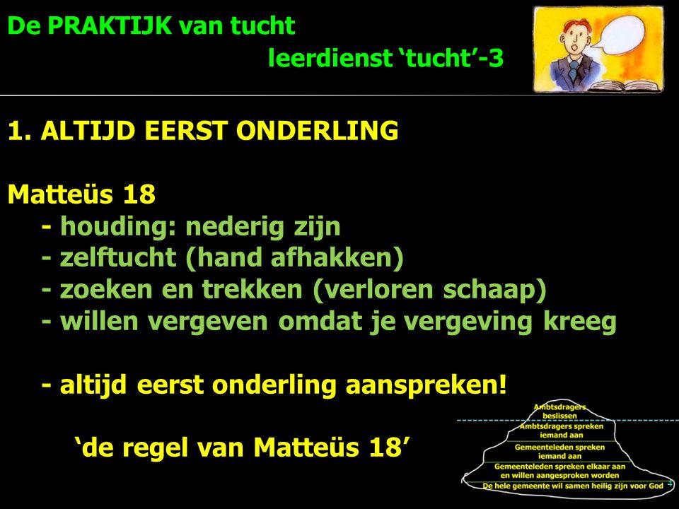 4 1.ALTIJD EERST ONDERLING Matteüs 18 - houding: nederig zijn - zelftucht (hand afhakken) - zoeken en trekken (verloren schaap) - willen vergeven omdat je vergeving kreeg - altijd eerst onderling aanspreken.