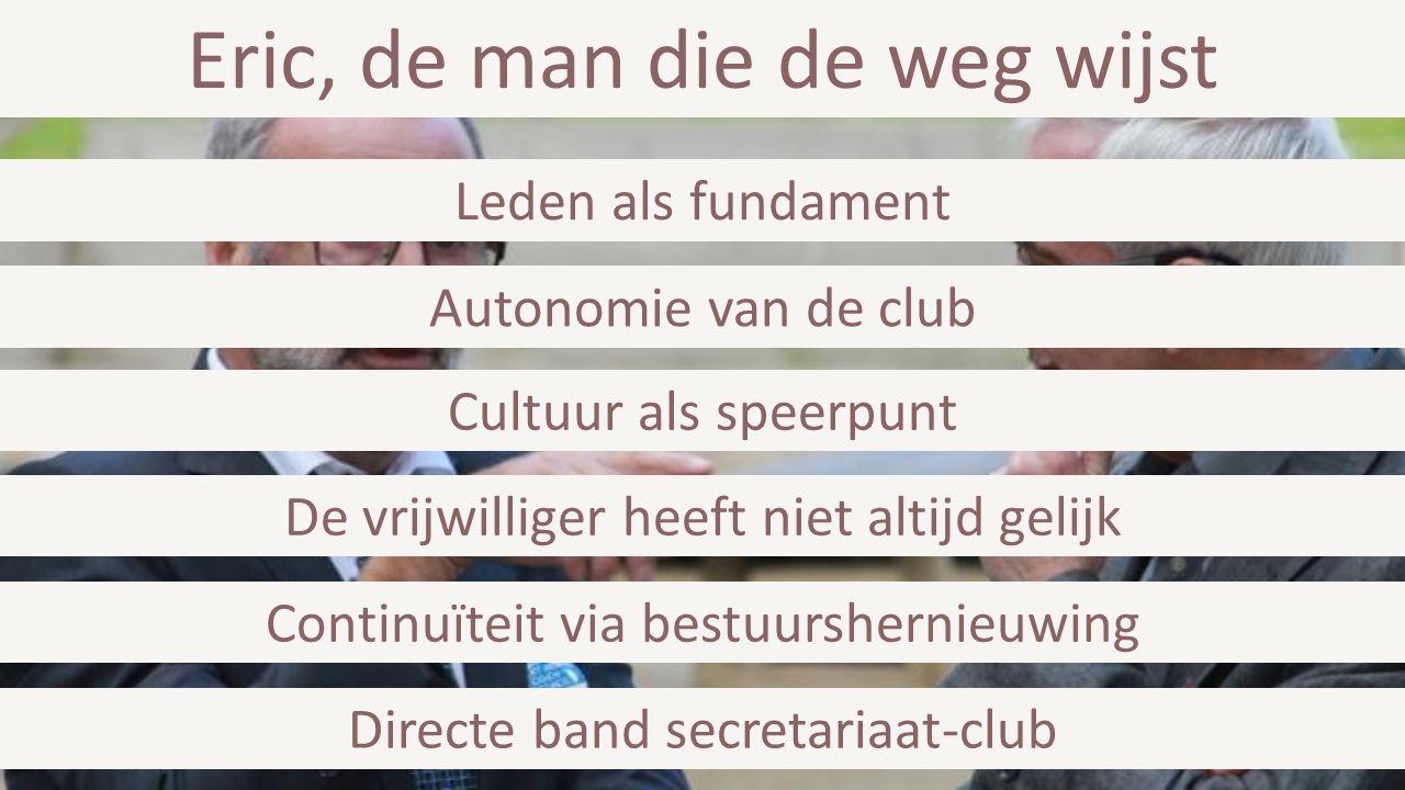 Eric, de man die de weg wijst Directe band secretariaat-club Continuïteit via bestuurshernieuwing De vrijwilliger heeft niet altijd gelijk Cultuur als