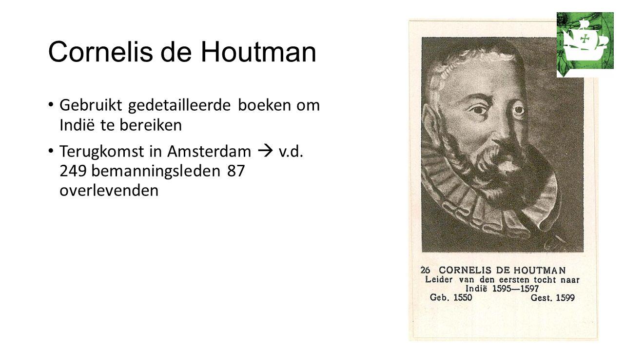 Cornelis de Houtman Gebruikt gedetailleerde boeken om Indië te bereiken Terugkomst in Amsterdam  v.d.