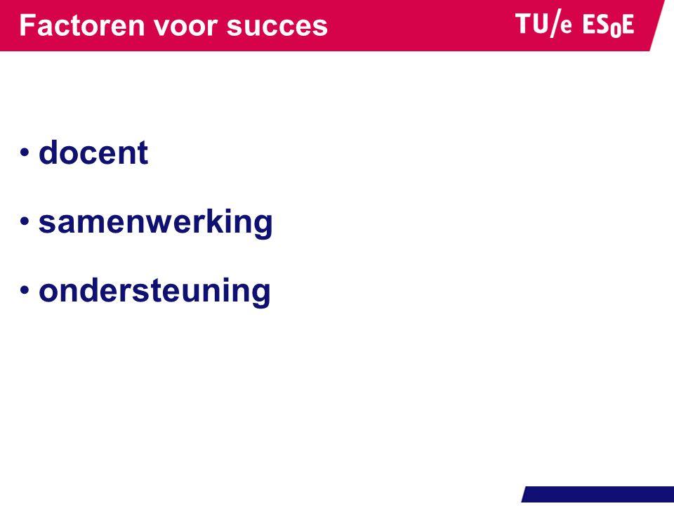 Factoren voor succes docent samenwerking ondersteuning