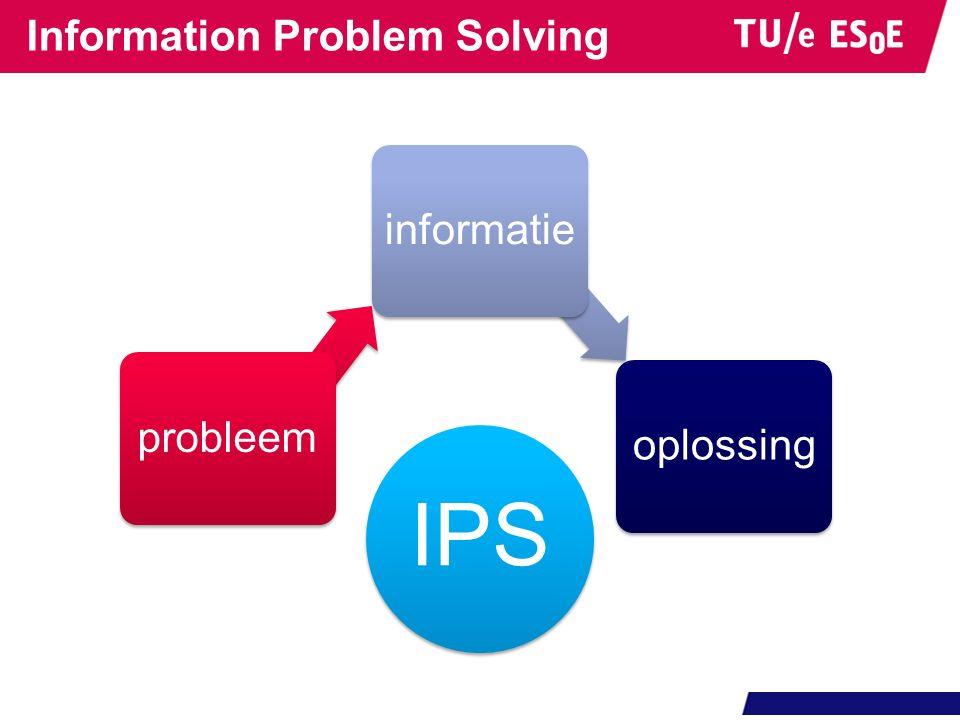 4 fasen in IPS Information Problem Solving voorbereiding opdracht onderwerp achtergrond informatie informatie behoefte onderzoeksvragen onderzoeksplan zoeken en evalueren gebruik zoektermen evalueer zoekresultaten in zoekmachine lokaliseer en evalueer informatie in bron product maak eindproduct presenteer eindproduct evaluatie evalueer product evalueer proces