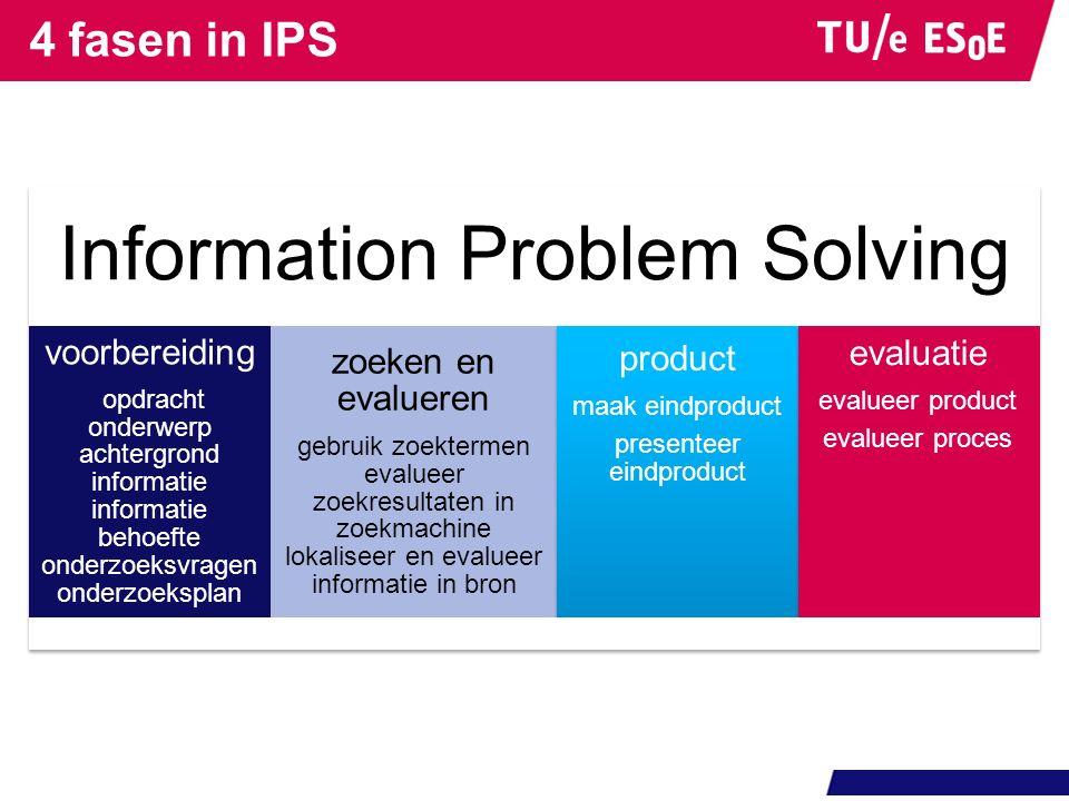 Theorie 4 modellen voor IPS: IPS-I (Brand-Gruwel, 2009) Big6 (Willer & Berkowitz, 1996) Information Seeking Process (Kuhlthau, 1966) Library Research (Stripling & Pitts, 1988)