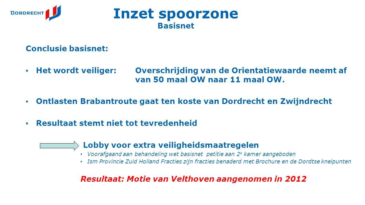 Inzet spoorzone Basisnet Conclusie basisnet: Het wordt veiliger:Overschrijding van de Orientatiewaarde neemt af van 50 maal OW naar 11 maal OW.