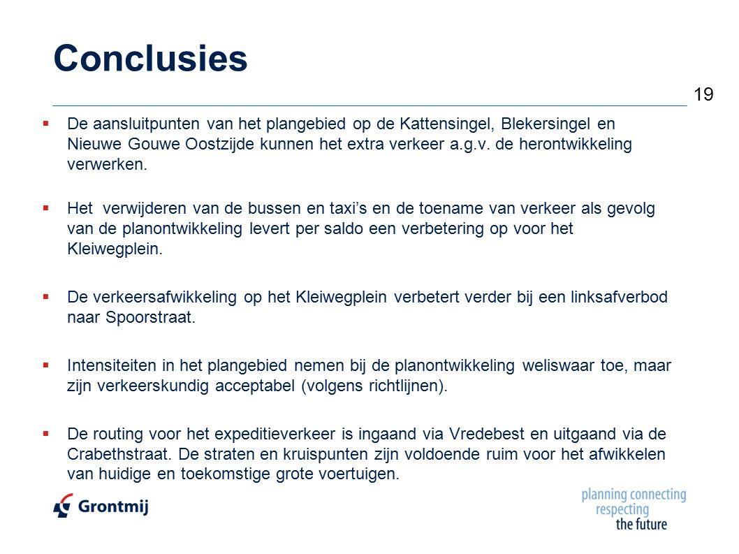 Conclusies  De aansluitpunten van het plangebied op de Kattensingel, Blekersingel en Nieuwe Gouwe Oostzijde kunnen het extra verkeer a.g.v. de heront
