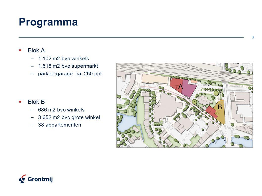 Programma  Blok A –1.102 m2 bvo winkels –1.618 m2 bvo supermarkt –parkeergarage ca. 250 ppl.  Blok B –686 m2 bvo winkels –3.652 m2 bvo grote winkel